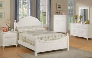 4Pcs Twin or Full Girl Kid Youth Bedroom Set in a White Finish, Hard