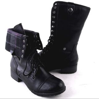 NEW WOMENS BLACK MIDCALF LACEUP OR FOLD DOWN COMBAT BOOTS SIZE 10