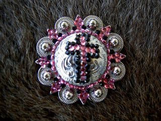 BERRY PINK CRYSTALS BLING CONCHOS HORSE SADDLE HEADSTALL TACK BRIDLE