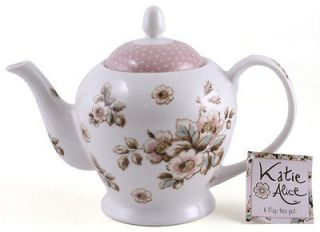 KATIE ALICE Cottage Flower SHABBY CHIC 6 Cup PORCELAIN TEAPOT