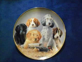 SUPERB FRANKLIN MINT   SCHOOL DAZE PUPPIES, ROUND PORCELAIN PLATE