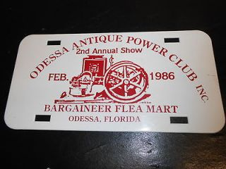 AUTO car Automobile LICENSE PLATE Odessa FL Antique POWER CLUB 1986