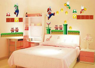 Size SUPER MARIO Bros. Wall Sticker DS WII BedRoom Gift DS WII US