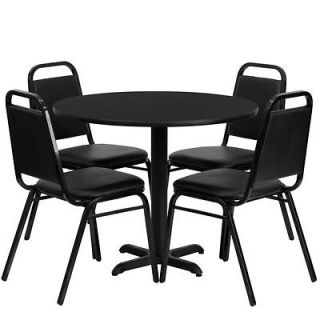 36 Round Black Dining Table with 4 Black Trapezoidal Back Banquet