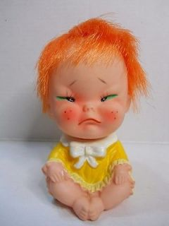 Vintage Japan Rubber Cry Baby doll Redhead Iwai doll 3 1/2