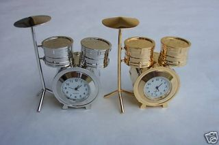 COLLECTIBLE MINIATURE DRUM SET CLOCK IN GOLD
