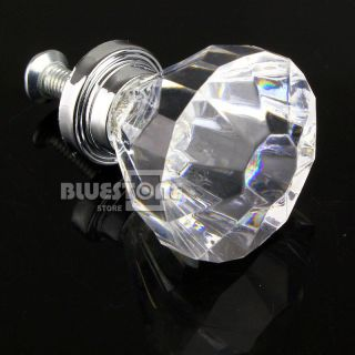 Acrylic Crystal Knob 31mm Cabinet Drawer Furniture Hardware Handles