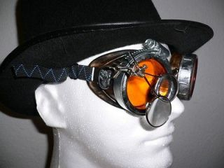 Silver On Copper Orange Lens Steampunk Goggles Glasses   Rave   Punk