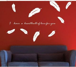 HOT DIY Feather Wall Decal Sticker Quote Vinyl Art