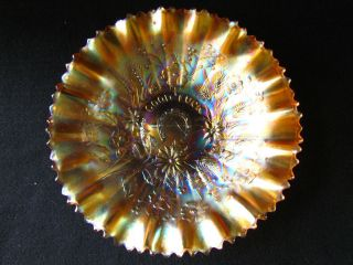 Good Luck Bowl Northwoods Marigold Pie Crust Edge Carnival Glass