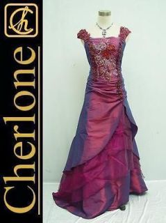 Cherlone Satin Dark Purple Off Shoulder Ball Gown Wedding/Evenin g