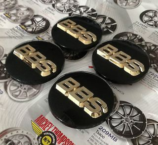 BBS BLACK WHEEL CENTER CAPS SET OF 4 3D WITH GOLD LOGO 0923221