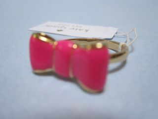 KATE SPADE TAKE A BOW HOT PINK / GOLD BOW RING SIZE 6, 7 OR 8  NWT