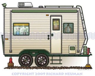 544 Toy Hauler Camper RV Print Wall Decor Art Camping