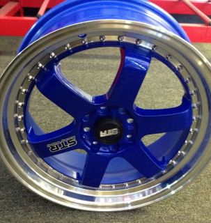 4x100 4x114 3 Blue Wheels Civic Accord Yaris Integra Neon 4 Lug Rims