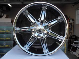 24 Wheels Rims Package Free Tires U2 35S Triple Chrome Deep Lip 5x127