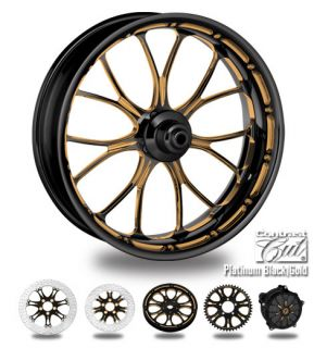 Custom Color Rims 21 Wheel Package for Harley Black Gold