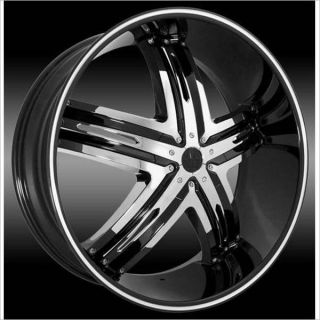 24 inch Envious Black Wheels Rims 6x5 6x127 25 Trailblazer GMC Envoy
