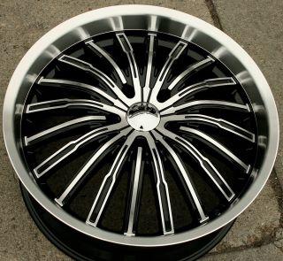 Panther Spyder 915 22 Black Rims Wheels Chrysler Aspen Dakota 22 x 9