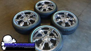LX 704 CHROME 20 WHEELS RIMS VOGUE WHITE WALL TIRES 20x8 5 245 40 20