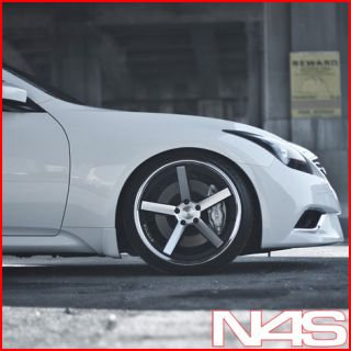 G37 Coupe Stance SC 5IVE Silver Concave Staggered Wheels Rims
