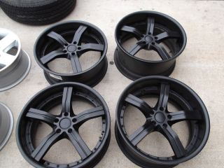 20 Staggered Black Wheels Rims 5x114 3 G35 350Z Mustang M37 M35 gs350