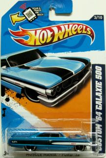 Custom 1964 Ford Galaxie 500 Hot Wheels 2012 Muscle Mania 3 10 Blue