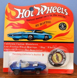 1968 Mattel Hot Wheels Redline Metallic Blue Silhouette Blister Pack