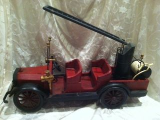 Fire Dept Truck Wood Toy Ladder Hose Wheels Car Carved Antique