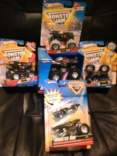 HOT WHEELS MONSTER JAM HUGE BATMAN LOT DUO TATTOO 30th ANNIV REV TREDZ