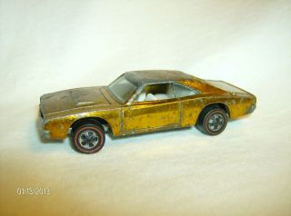 old vintage rare 1969 Hot Wheels Redline Custom Charger Dodge Yellow