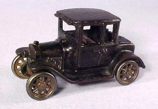 ANTIQUE ARCADE BLACK CAST IRON 5 FORD MODEL T COUPE NICKEL WHEELS 1925
