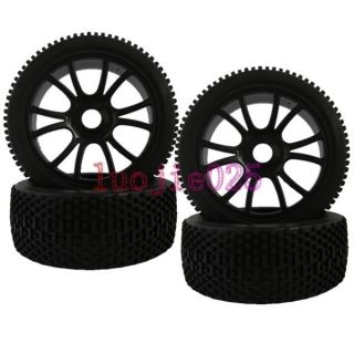 Car Buggy Rubber Tyre Tires Plastic Wheel Rim Black 84B 801
