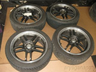 RS Limited Wheels Rims with Tires x4 5 Star Black 17 Prelude 4x114 3