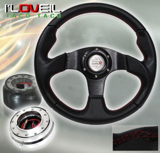 96 00 Honda Civic Black Steering Wheel Chrome Short Quick Release