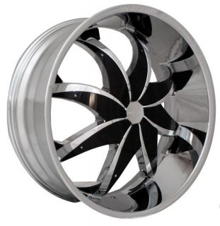 22 Rocknstarr 608 Chrome Wheels Rims Tires Pkg Black Inserts FWD