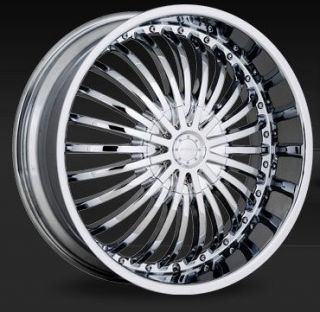 22 inch Strada Spina Chrome Wheels Rims 5x127 5x5