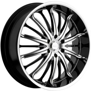 22 inch 22x8 5 Akuza Belle Black Wheels Rims 5x115 35