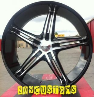 22 inch 22x8 5 FWD Forte Wheels Rims Tires Black FW56 5x115 Cadillac