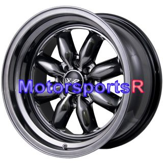 16 16x8 XXR 513 Chromium Black Rims Wheels Deep Dish Step Lip 4x114 3