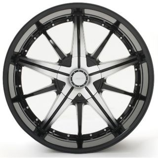097 Black Machined Face Wheels Rims Tires Pkg 5x127 Jeep SUV