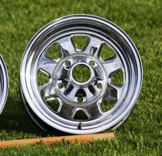 Jeep CJ OEM Laredo Chrome Rims   Set of Four Wheels CJ 7 5 8 Scrambler