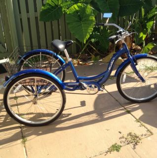 24 Adult Tricycle 3 Wheeler Trike Blue Cruiser Schwinn