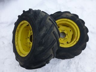 John Deere 317 Tractor Good Year 23x10 50 12 Rear Tires Rims bar lug