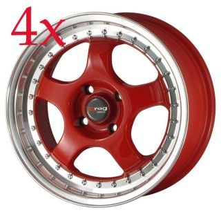 Drag Wheels DR 46 15x7 4x100 Red Rims Civic Integra Corolla Miata
