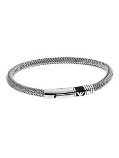 Emporio Armani Gents Stainless Steel and Cord Bracelet   Silver