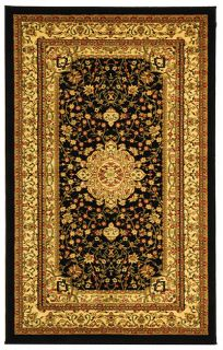 Lyndhurst Collection Mashad Black/ Ivory Rug (53 X 76) (BlackPattern OrientalMeasures 0.375 inch thickTip We recommend the use of a non skid pad to keep the rug in place on smooth surfaces.All rug sizes are approximate. Due to the difference of monitor