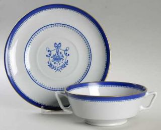 Spode Newburyport Blue (Gold Trim) Footed Cream Soup Bowl & Saucer Set, Fine Chi