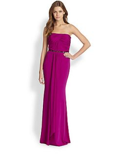 Badgley Mischka Strapless Draped Silk Gown   Orchid