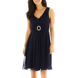 Jessica Howard Ruched Waist A Line Dress, Navy, Womens